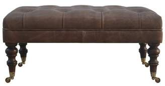 17 Stories Corie Leather Cocktail Ottoman