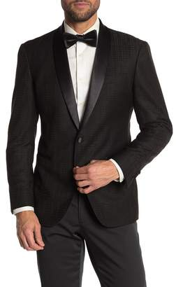 Kenneth Cole Reaction Black Tonal Houndstooth One Button Shawl Lapel Evening Jacket