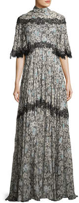 Valentino Floral-Print Lace-Trim Tie-Back Gown, Green Pattern