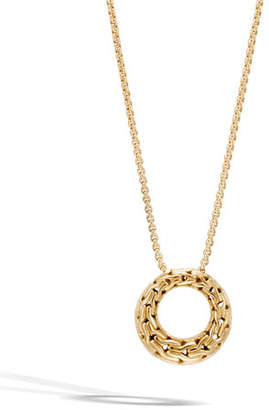 John Hardy Classic Chain 18K Gold Small Round Pendant Necklace