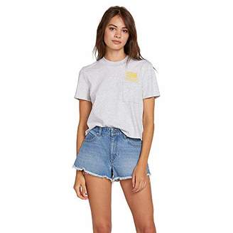 Volcom Junior's Women's Mid Rise Raw Hem Denim Short