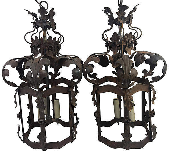 One Kings Lane Vintage 19th C. French Lanterns - Set of 2 - Heather Cook Antiques
