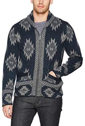 Lucky Brand Men's Indigo Intarsia Full Zip Cardigan Sweater