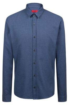 HUGO Boss Extra-slim-fit cotton shirt all-over tweed structure M Dark Blue