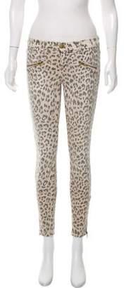 Current/Elliott Mid-Rise Printed Pants Beige Mid-Rise Printed Pants