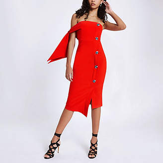 River Island Red tie sleeve bandeau midi dress