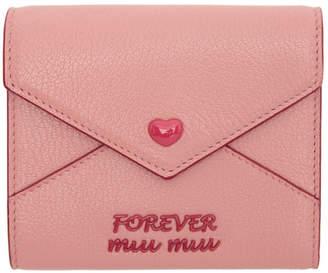 Miu Miu Pink Madras Love Trifold Wallet