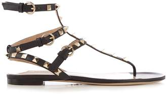 VALENTINO Rockstud flat leather sandals $683 thestylecure.com