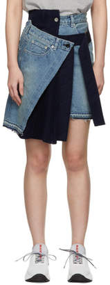 Sacai Blue Velvet Denim X Uncut Skirt