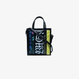 Balenciaga black Graffiti Bazar Shopper Mini Tote Bag