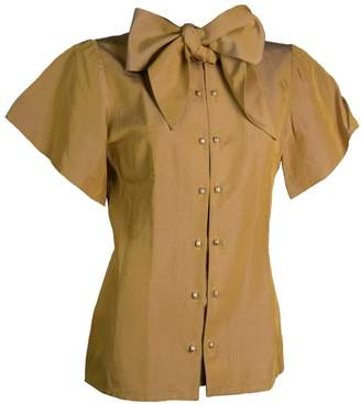 Relax Baby Be Cool Womens Short Sleeve Silk Bow Tie Blouse