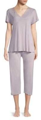 Hanro Rose Crop Lace-Trim Pajamas
