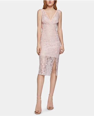 BCBGeneration Floral-Lace Surplice Midi Dress