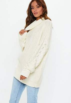Missguided Cream Turtle Neck Cable Longline Sweater
