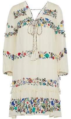 Derek Lam 10 Crosby Gathered Printed Silk Mini Dress