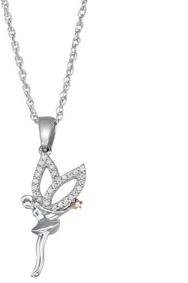 Two-Tone Sterling Silver 1/10 C.T. Diamond Angel Pendant Necklace
