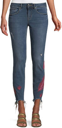 Dex Feather-Embroidered Raw-Hem Skinny Jeans