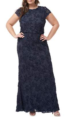 JS Collections Sequin Lace Blouson Gown