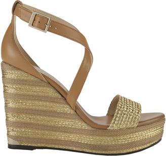 Jimmy Choo Portia Metallic Stripe Wedge Sandals $550 thestylecure.com