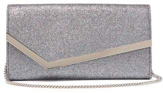 Jimmy Choo Emmie Glitter And Leather Clutch - Womens - Silver