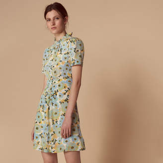 Sandro Short-sleeve high-neck silk dress