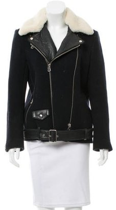 Sandro Leather-Trimmed Shearling Collar Jacket $535 thestylecure.com