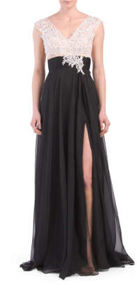 V-neck Gown With Sheer Overlay