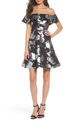 Sequin Hearts Off the Shoulder Foil Scuba Fit & Flare Dress