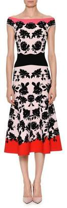 Alexander McQueen Off-the-Shoulder Rose-Jacquard Fitted Midi Cocktail Dress