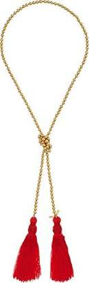 Kenneth Jay Lane Women's Gold Bead Necklace w/ Red Tassels