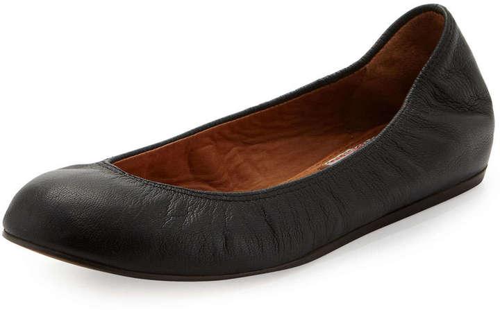 Lanvin Scrunched Leather Ballerina Flat, Black