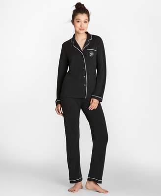Brooks Brothers Logo-Embroidered Pima Cotton Interlock Jersey Pajama Set