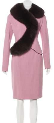 Christian Dior Fur-Trimmed Skirt Set