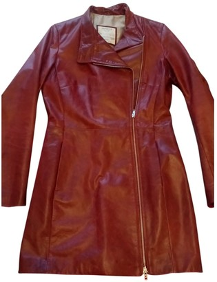 Oakwood Burgundy Leather Coat for Women