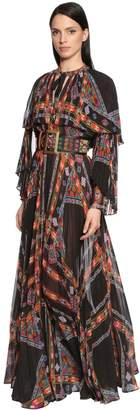 Etro Printed Pleated Techno Georgette Dress