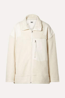 MM6 MAISON MARGIELA Oversized Paneled Wool-blend Fleece And Canvas Jacket - Off-white