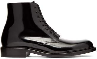 Saint Laurent Army patent-leather lace-up boots