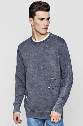 boohoo Distressed Sweater With Enzyme Wash