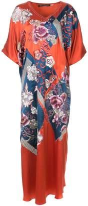 Josie Natori patch-work caftan dress