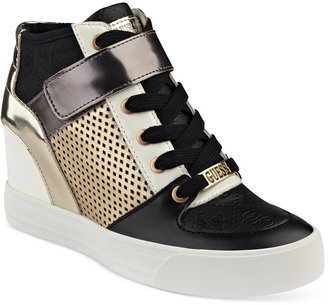 GUESS Women's Diza Lace-Up Sneakers $89 thestylecure.com