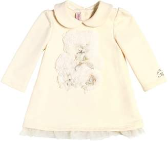 Miss Blumarine Cotton Dress W/ Faux Fur Patch