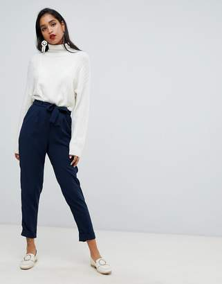 Asos Design DESIGN woven peg trousers with obi tie