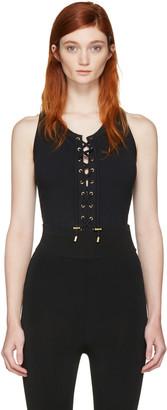 Balmain Black Lace-Up Bodysuit $480 thestylecure.com