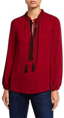 Kobi Halperin Paula Long-Sleeve Beaded Tassel-Tie Silk Blouse