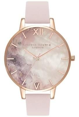 Olivia Burton OB16SP03 Women's Semi Precious Floral Leather Strap Round Watch, Blossom Pink