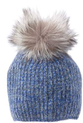 Portolano Genuine Dyed Fox Fur Pompom Rib Stitched Beanie