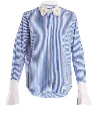 Muveil Embellished-collar striped cotton shirt