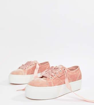 Superga Platform Sneakers In Pink Velour