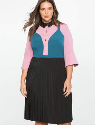 ELOQUII Pleated Shirt Dress