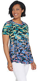 LOGO by Lori Goldstein Printed Camo Knit Top w/Ruffle Hem